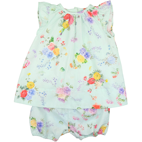 Floc Baby Turquoise Floral Two Piece Set