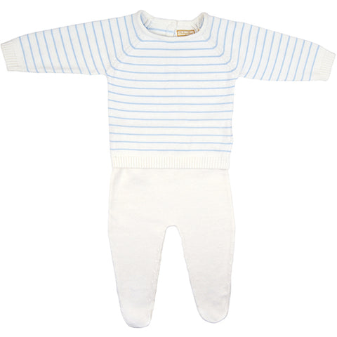 Babybol Blue & White Knitted Two Piece Set