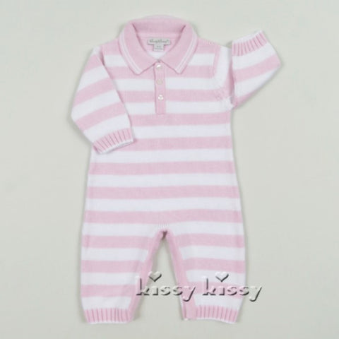 Kissy Kissy Pink and White Striped Knitted Playsuit