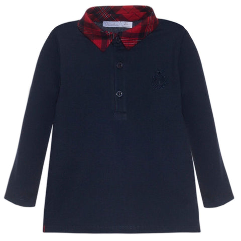Patachou-Navy-Long-Sleeve-polo-shirt-with-tartan-collar.