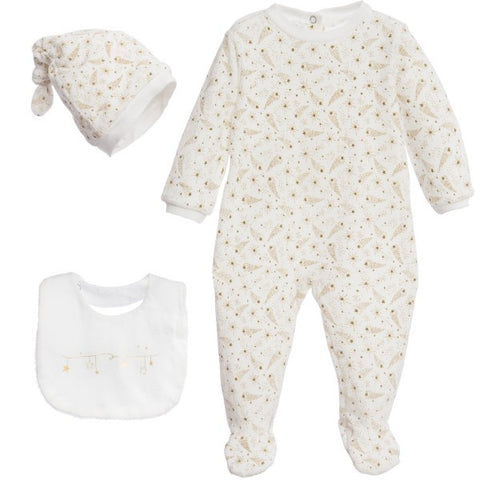 Absorba Ivory & Gold Velour Three Piece Set