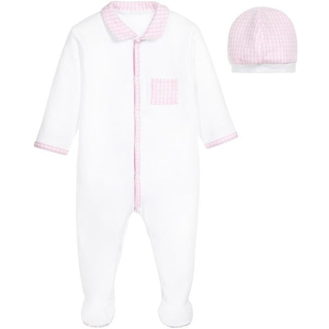 Absorba Pink & White Babygrow & Hat Gift Set