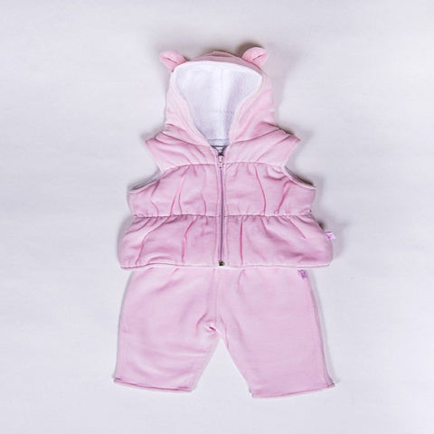 Kissy Kissy Pink Velour Hooded Body Warmer & Bottoms