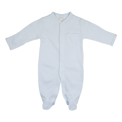 Kissy Kissy Blue & White Striped Babygrow
