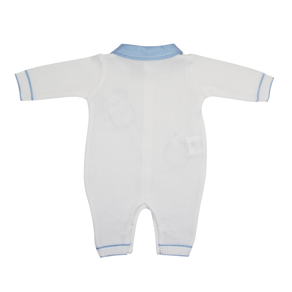 Bimbalo White & Blue Knitted Playsuit