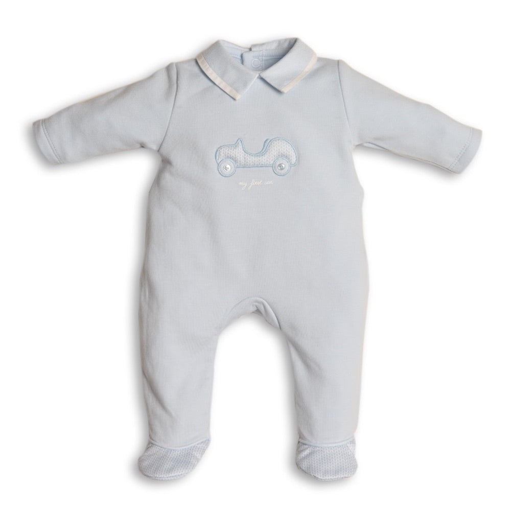 First Car Design Blue Babygrow