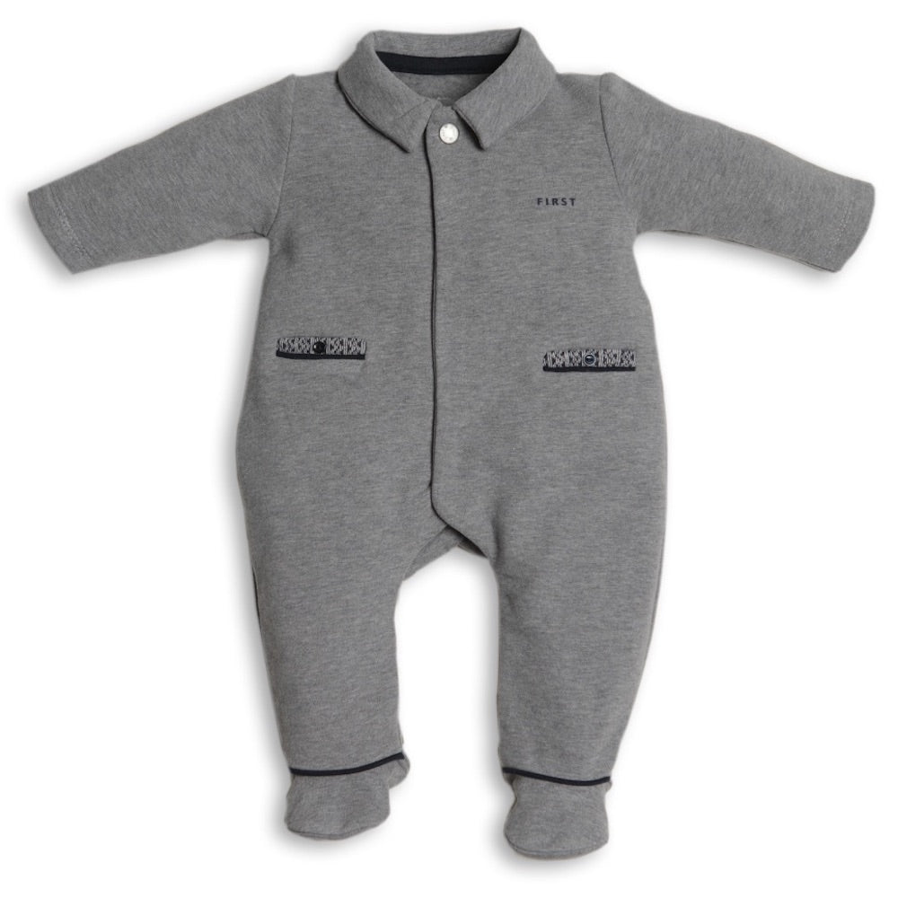 First Bear Design Grey Babygrow