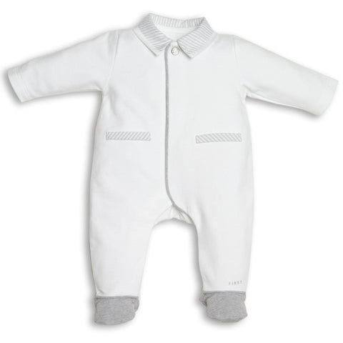 First Grey & White Bear Design Babygrow