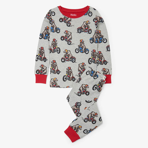 Hatley 'Biking Bears' Grey PJ Set