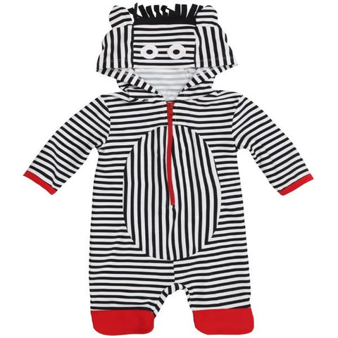 Lilly & Sid Sun Safe Zebra Romper with Pink Ears