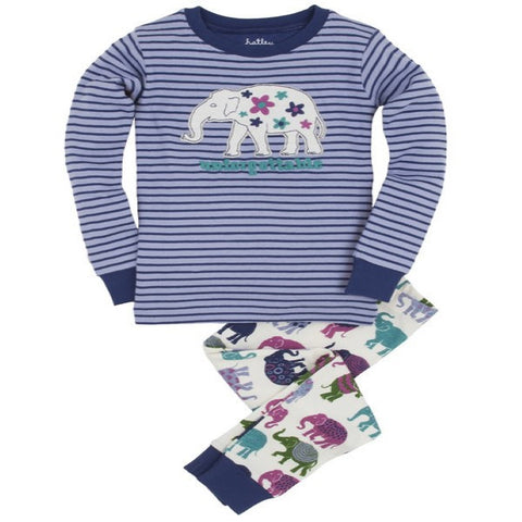 Hatley PJ Set with Elephants Design
