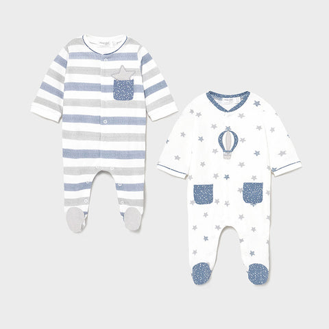 Mayoral Blue & Grey Twin Pack Babygrow Set
