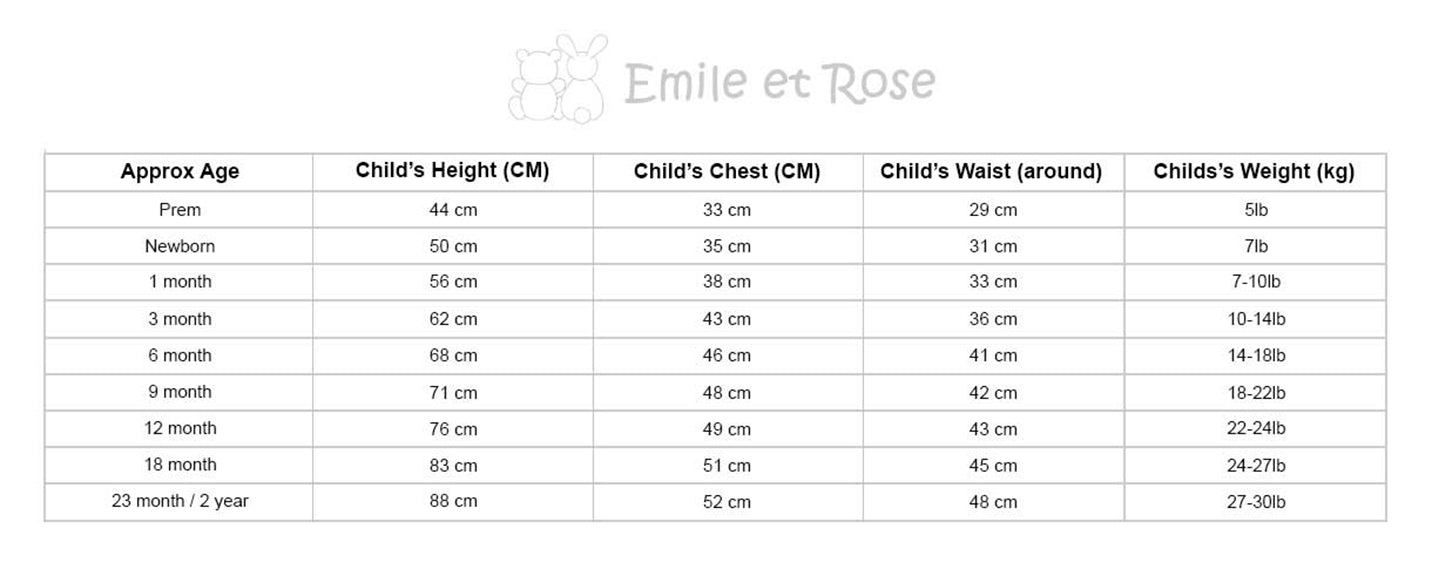 Image result for emile et rose size chart