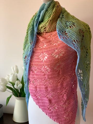PDF Painted Daisies Shawl Pattern