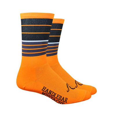 "Handlebar Mustache Aireator 6"" BIGGIE SMALLS SOCKS - ORANGE"