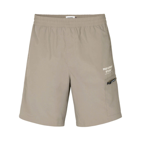 Beige Off-Race Shield Men's Shorts