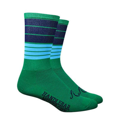 "Handlebar Mustache Aireator 6"" BIGGIE SMALLS SOCKS - GREEN"