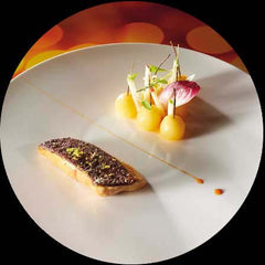 Fried foie gras cutlet, quince balls with a tart Cox's apple jus recipe