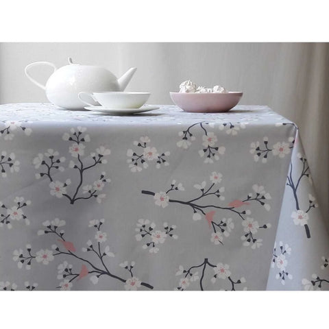 Acrylic Coated Tablecloth, Cherry Tree Grey Pink - Zouf.biz