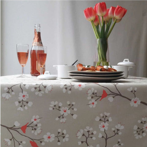 Acrylic Coated Tablecloth, Cherry Tree Taupe - Zouf.biz