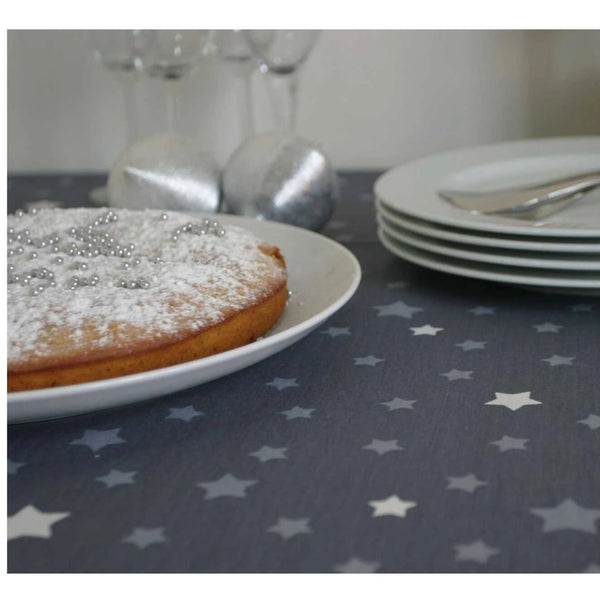 Acrylic Coated Tablecloth, Stars Grey Silver - Zouf.biz