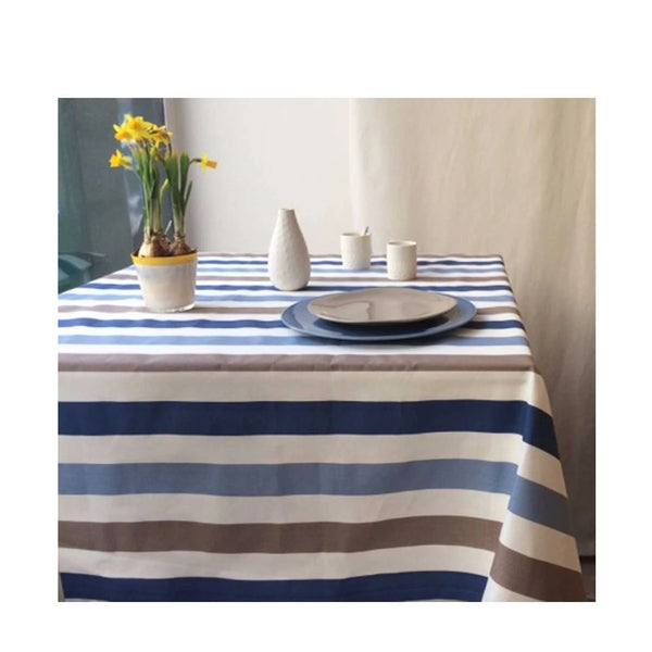 Acrylic Coated Tablecloth, Stripes Blue Taupe - Zouf.biz