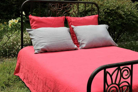 Raspberry 100% Linen Duvet Cover made in France