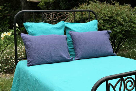 Turquoise 100% Linen Duvet Cover made in France