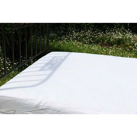 White 100% Linen Fitted Sheet made in France