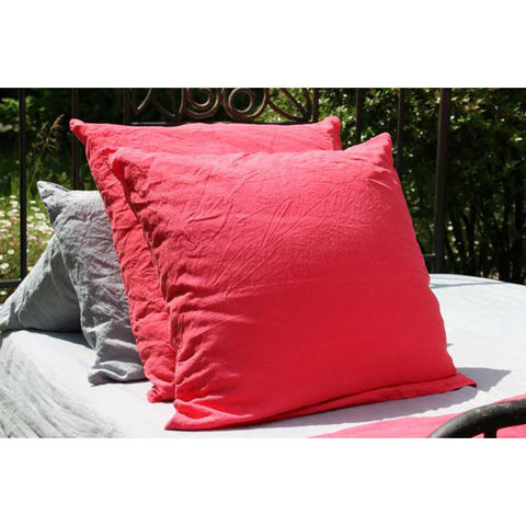 Raspberry 100% Linen Pillow Case made in France