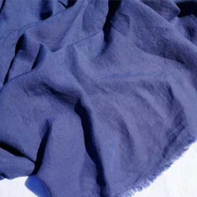 Dark Blue 100% Linen Throw made in France