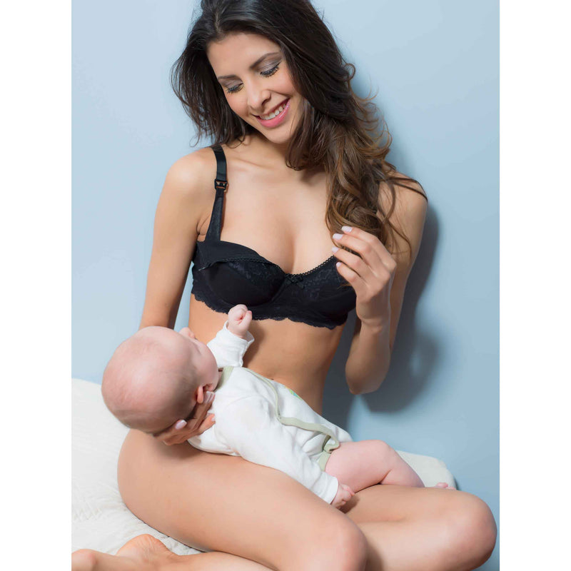 Essential Maternity Nursing Bra Wired, Black Organic Cotton - Zouf.biz