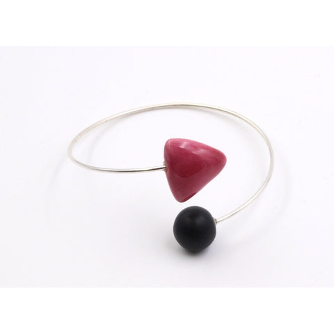 Raspberry & Black Berlingots Ceramic Bracelet - Zouf.biz