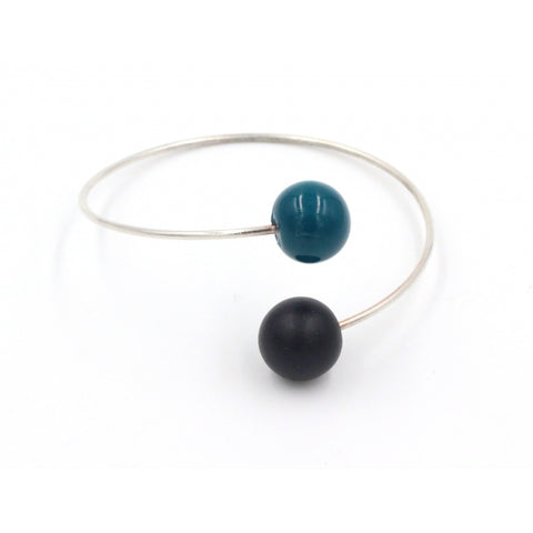 Duck Egg Blue & Black Perles Duo Ceramic Bracelet - Zouf.biz