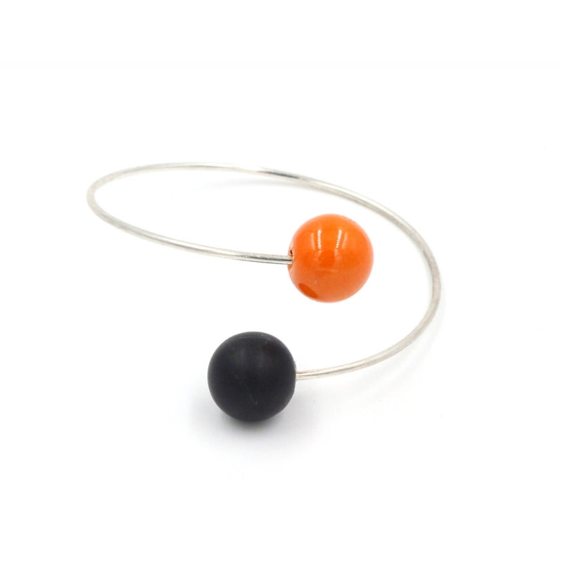 Orange & Black Perles Duo Ceramic Bracelet - Zouf.biz