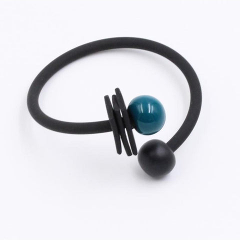 Duck Egg Blue & Black Iron Tribal Ceramic Bracelet - Zouf.biz