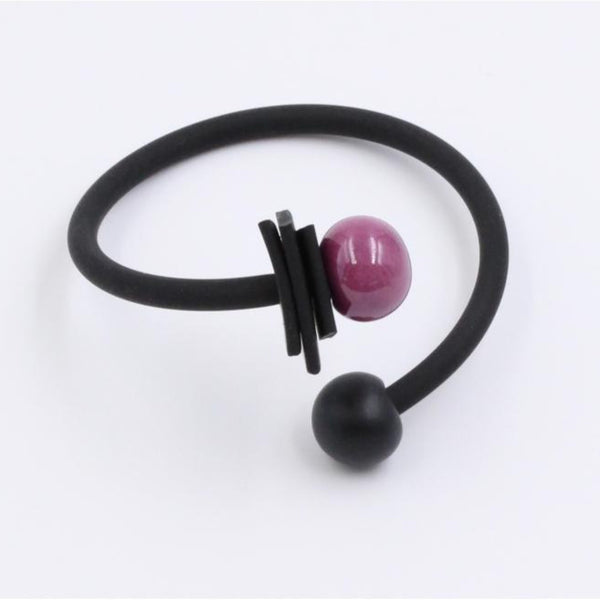 Plum & Black Tribal Ceramic Bracelet - Zouf.biz