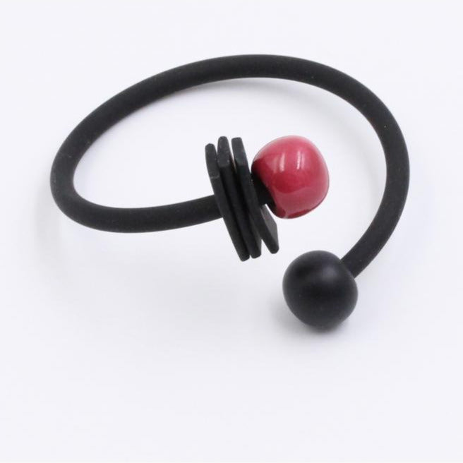 Raspberry & Black Tribal Ceramic Bracelet - Zouf.biz