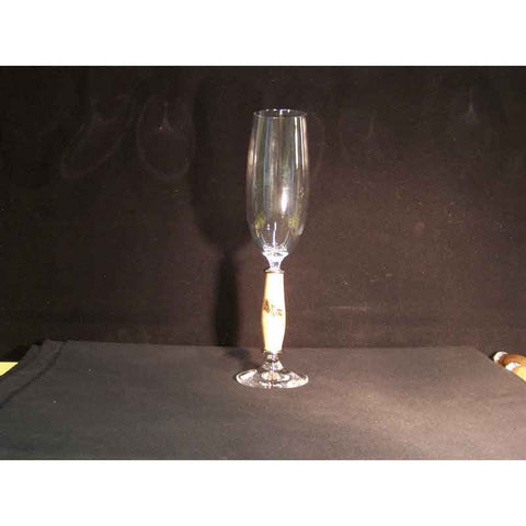 Crystal Champagne Flute on Burr Ash Wood Base - Zouf.biz