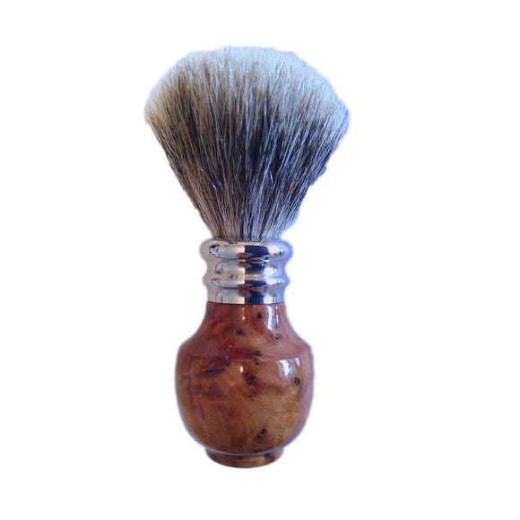 Pure Silver Tip Badger Shaving Brush Burr Thuya Wood - Zouf.biz