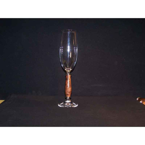Crystal Champagne Flute on Burr Walnut Wood Base - Zouf.biz