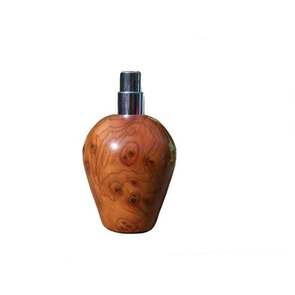 Burr Yew Wood Round Travel Spray Refillable Holder - Zouf.biz