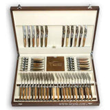 Laguiole Cutlery Canteen 48 Pieces Mixed Wood, Prestige Collection - Zouf.biz