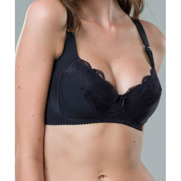 Black Lace Maternity Nursing Bra Non-Wired - Zouf.biz