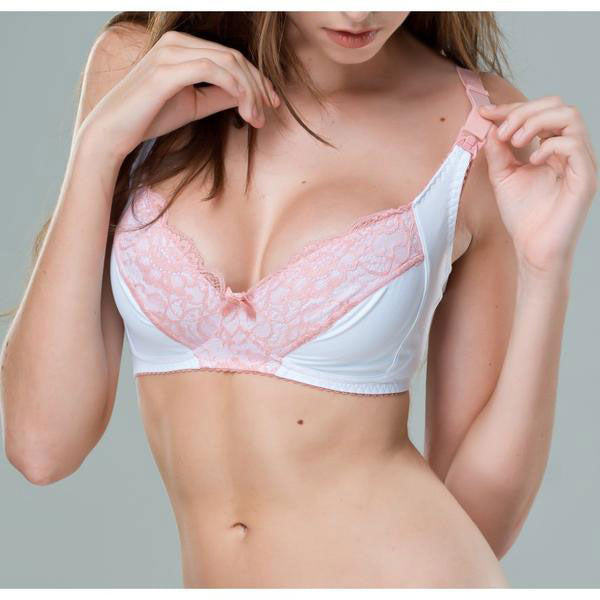 White & Pink Lace Maternity Nursing Bra Non-Wired - Zouf.biz
