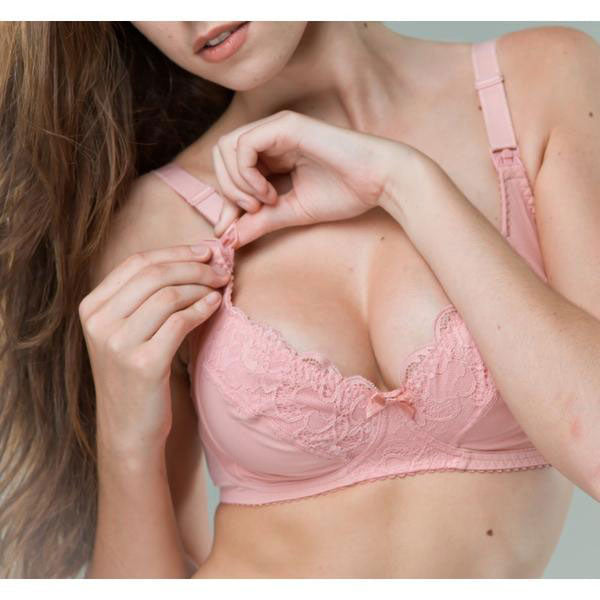 Pink Lace Maternity Nursing Bra Non-Wired - Zouf.biz