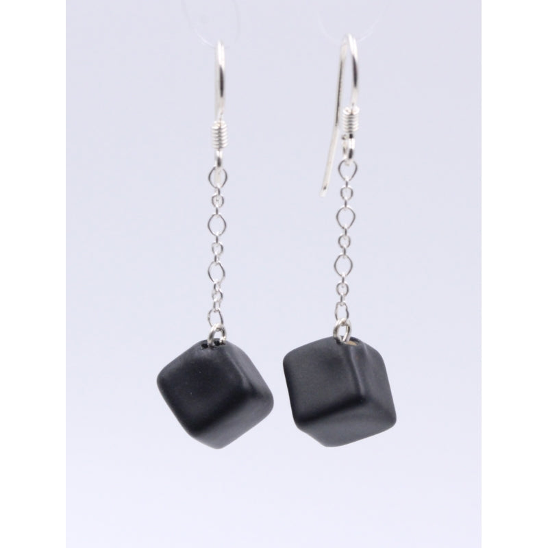 Black Cubic Meteorite Silver Chain Drop Earrings - Zouf.biz