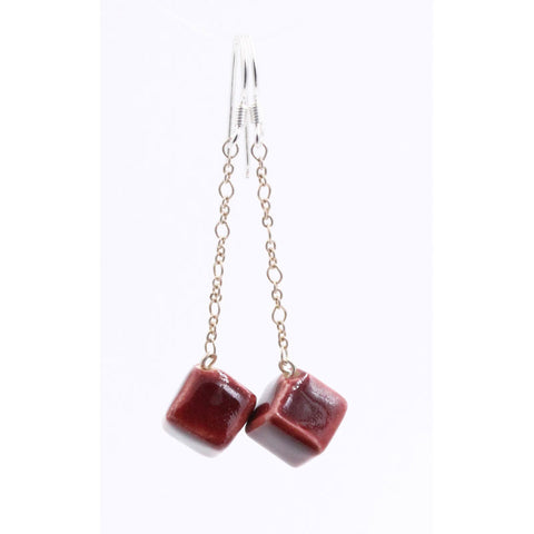 Blackcurrant Cubic Meteorite Silver Chain Drop Earrings - Zouf.biz
