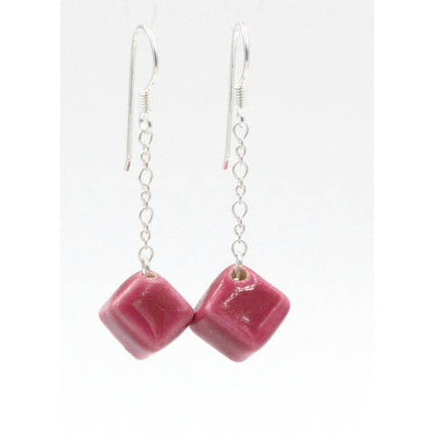 Raspberry Cubic Meteorite Silver Chain Drop Earrings - Zouf.biz