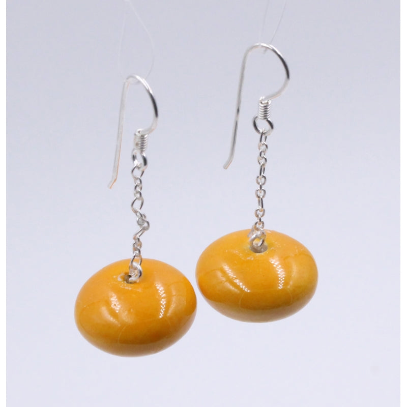 Apricot Toupie Silver Chain Drop Earrings - Zouf.biz